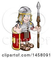 Clipart Of A Cartoon Happy Roman Soldier Holding A Spear Leaning On A Shield And Giving A Thumb Up Royalty Free Vector Illustration