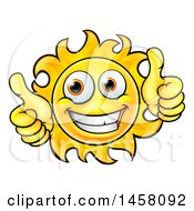 Cartoon Happy Sun Character Holding Two Thumbs Up