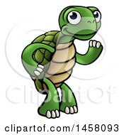 Clipart Of A Cartoon Happy Tortoise Standing And Waving Royalty Free Vector Illustration by AtStockIllustration