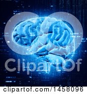 Clipart Of A 3d Glowing Blue Brain With Programming Codes Royalty Free Illustration
