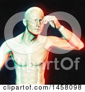 Clipart Of A 3d Medical Male Figure With A Headache And Visible Muscles With Dual Color Effect Over Black Royalty Free Illustration