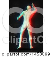Clipart Of A 3d Medical Male Figure With Neck Pain And Visible Spine With Dual Color Effect Over Black Royalty Free Illustration