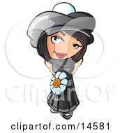Sweet And Attractive Short Haired Brunette Woman In A Black Hat And Dress With A White Daisy Belt Clipart Illustration by Leo Blanchette