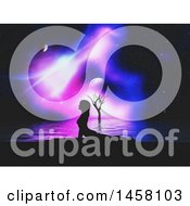 Clipart Of A 3d Silhouetted Woman Doing Yoga Against A Night Sky And Water Royalty Free Illustration