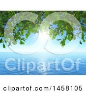 Clipart Of A 3d Background Of Green Leaves A Sunny Sky And Ocean Water Royalty Free Illustration
