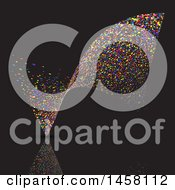 Clipart Of A Wave Of Colorful Dots On Black Royalty Free Vector Illustration