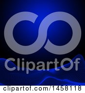 Clipart Of A Blue And Back Wireframe Landscape Background Royalty Free Vector Illustration