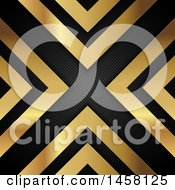 Clipart Of A Background Of Gold Arrows And Perforated Metal Forming An X Royalty Free Vector Illustration by KJ Pargeter