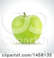 Clipart Of A 3d Green Apple On A Shaded Background Royalty Free Vector Illustration by cidepix