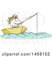 Cartoon Happy Moodie Character Fishing In A Boat