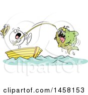 Cartoon Frightened Moodie Character Reeling In A Monster Fish While Fishing In A Boat