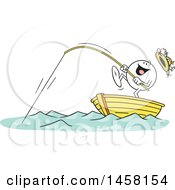 Cartoon Happy Moodie Character Catching A Big One While Fishing In A Boat