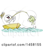Cartoon Happy Moodie Character Catching A Big Fish While Fishing In A Boat