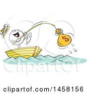 Clipart Of A Cartoon Happy Moodie Character Catching A Money Bag While Fishing In A Boat Royalty Free Vector Illustration