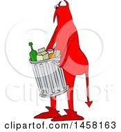 Chubby Red Devil Carrying A Trash Can