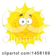 Clipart Of A Smiling Sun Mascot Royalty Free Vector Illustration