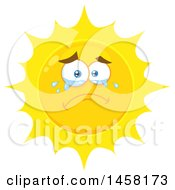 Clipart Of A Crying Sun Mascot Royalty Free Vector Illustration
