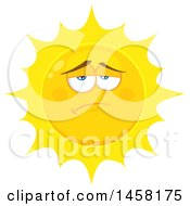 Clipart Of A Depressed Sun Mascot Royalty Free Vector Illustration