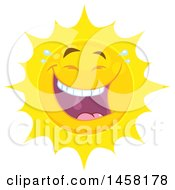 Clipart Of A Laughing Sun Mascot Royalty Free Vector Illustration
