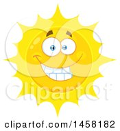 Clipart Of A Grinning Sun Mascot Royalty Free Vector Illustration
