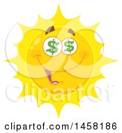 Clipart Of A Greedy Sun Mascot Royalty Free Vector Illustration