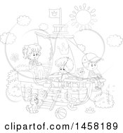 Clipart Of A Black And White Group Of Kids Playing On A Boat Royalty Free Vector Illustration
