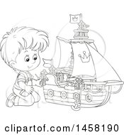 Clipart Of A Black And White Boy Kneeling And Playing With A Toy Boat Royalty Free Vector Illustration by Alex Bannykh