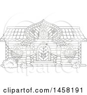 Clipart Of A Black And White Fairy Tale Log Cabin Home Royalty Free Vector Illustration