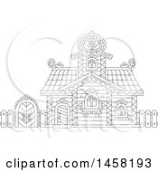 Clipart Of A Black And White Fairy Tale Log Cabin Royalty Free Vector Illustration