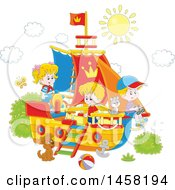 Clipart Of A Group Of Children Playing On A Boat Royalty Free Vector Illustration