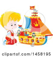 Clipart Of A Caucasian Boy Kneeling And Playing With A Toy Boat Royalty Free Vector Illustration by Alex Bannykh