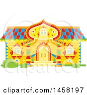 Clipart Of A Fairy Tale Log Cabin Home Royalty Free Vector Illustration