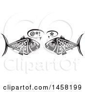 Clipart Of A Woodcut Styled Owl Pair Of Fish Talking In Black And White Royalty Free Vector Illustration