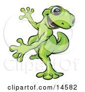 Happy Green Gecko Dancing And Looking Back Over His Shoulder Clipart Illustration