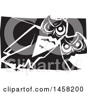 Clipart Of A Woodcut Styled Pair Of Curious Owls In Black And White Royalty Free Vector Illustration