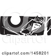 Clipart Of A Woodcut Styled Owl On A Branch At Night In Black And White Royalty Free Vector Illustration
