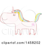 Cute Happy Unicorn With Rainbow Hair