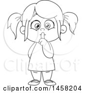 Clipart Of A Black And White Girl Gesturing To Be Quiet Royalty Free Vector Illustration