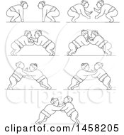 Matches Between Sumo Wrestlers In Black And White Lineart Style