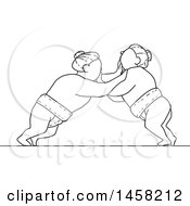 Clipart Of A Match Between Sumo Wrestlers In Black And White Lineart Style Royalty Free Vector Illustration by patrimonio