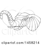 Clipart Of A Black And White Elephant Head In Lineart Style Royalty Free Vector Illustration