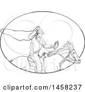 Clipart Of A Roping Cowboy With A Lasso On Horseback In Sketched Black And White Style Within An Oval Royalty Free Vector Illustration