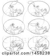 Clipart Of Scenes Of A Roping Cowboy With A Lasso On Horseback In Sketched Black And White Style Within An Oval Royalty Free Vector Illustration