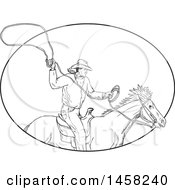 Roping Cowboy With A Lasso On Horseback In Sketched Black And White Style Within An Oval