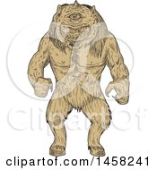 Clipart Of A Cyclops In Tan Sketch Style Royalty Free Vector Illustration by patrimonio