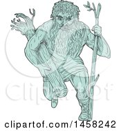 Poster, Art Print Of Leshy Or Leshiye Running With A Tree Trunk In Turquoise Sketch Style