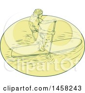 Man Paddle Boarding In A Yellow Oval In Sketch Style