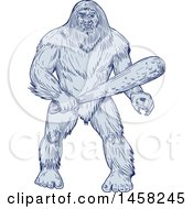 Bigfoot Or Sasquatch Holding A Club In Blue Sketch Style