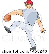 Poster, Art Print Of Cartoon Male Baseball Player Pitching A Ball