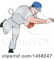 Cartoon Male Baseball Player Pitching A Ball